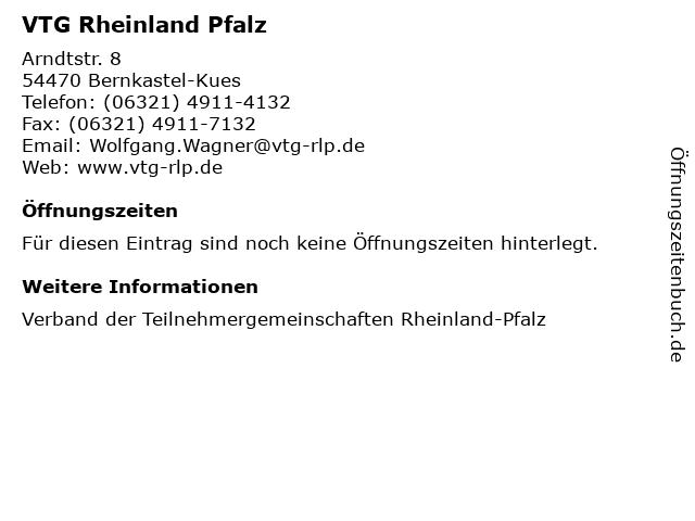 VTG Rheinland Pfalz in Bernkastel-Kues: Adresse und Öffnungszeiten