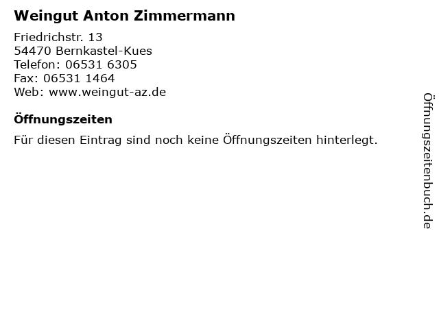 Weingut Anton Zimmermann in Bernkastel-Kues: Adresse und Öffnungszeiten