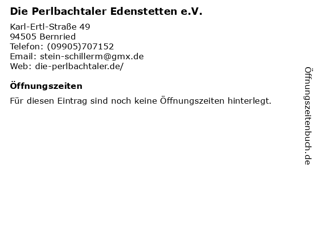 Die Perlbachtaler Edenstetten e.V. in Bernried: Adresse und Öffnungszeiten