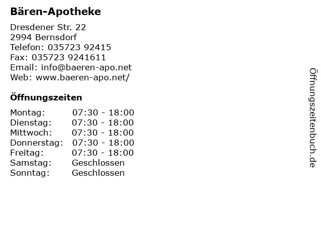 Bären-Apotheke in Bernsdorf: Adresse und Öffnungszeiten