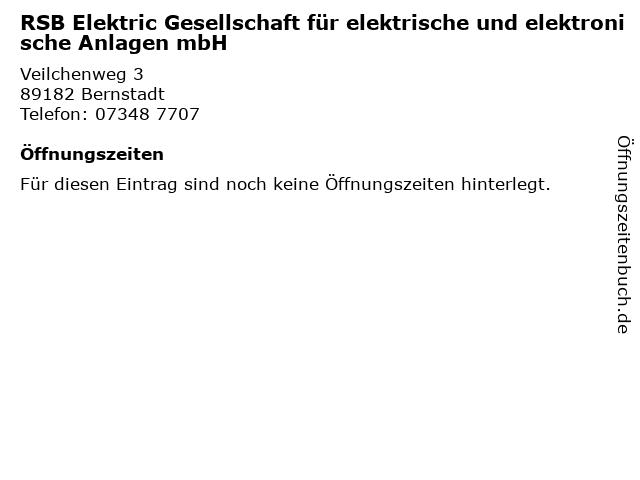 RSB Elektric Gesellschaft für elektrische und elektronische Anlagen mbH in Bernstadt: Adresse und Öffnungszeiten