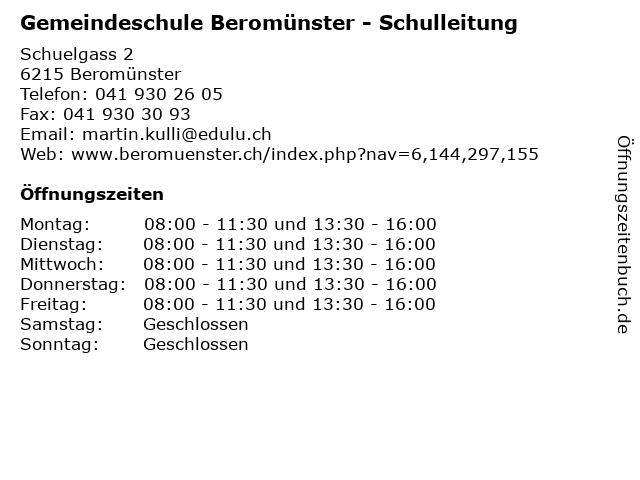 Gemeindeschule Beromünster - Schulleitung in Beromünster: Adresse und Öffnungszeiten