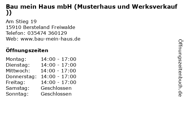 """ᐅ Öffnungszeiten """"Bau mein Haus mbH (Musterhaus und ..."""