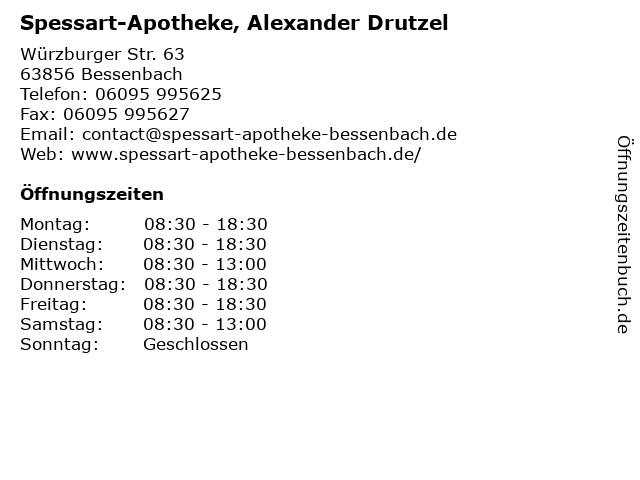 Spessart-Apotheke, Alexander Drutzel in Bessenbach: Adresse und Öffnungszeiten