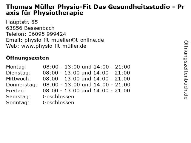 Thomas Müller Physio-Fit Das Gesundheitsstudio - Praxis für Physiotherapie in Bessenbach: Adresse und Öffnungszeiten