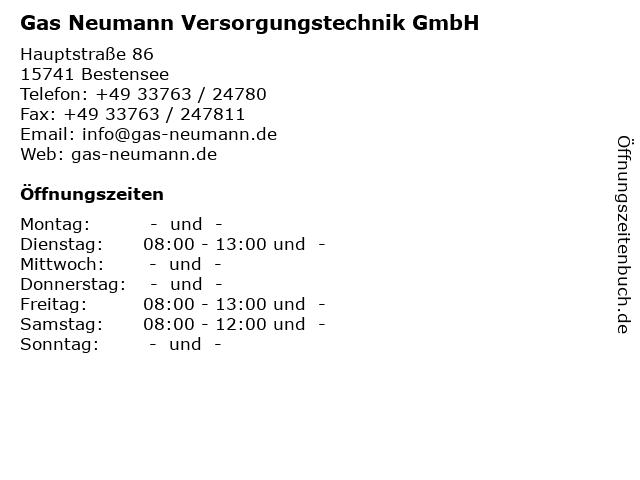 Gas Neumann Versorgungstechnik GmbH in Bestensee: Adresse und Öffnungszeiten