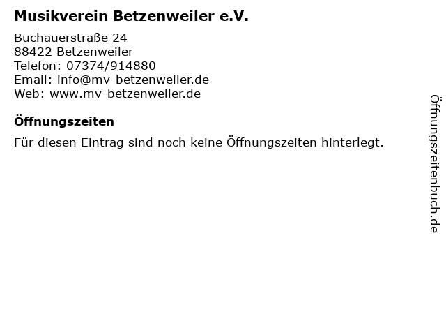 Musikverein Betzenweiler e.V. in Betzenweiler: Adresse und Öffnungszeiten