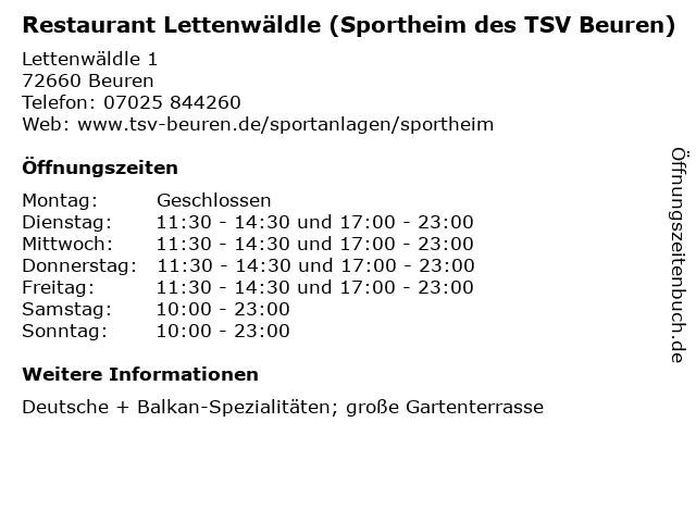 Restaurant Lettenwäldle (Sportheim des TSV Beuren) in Beuren: Adresse und Öffnungszeiten