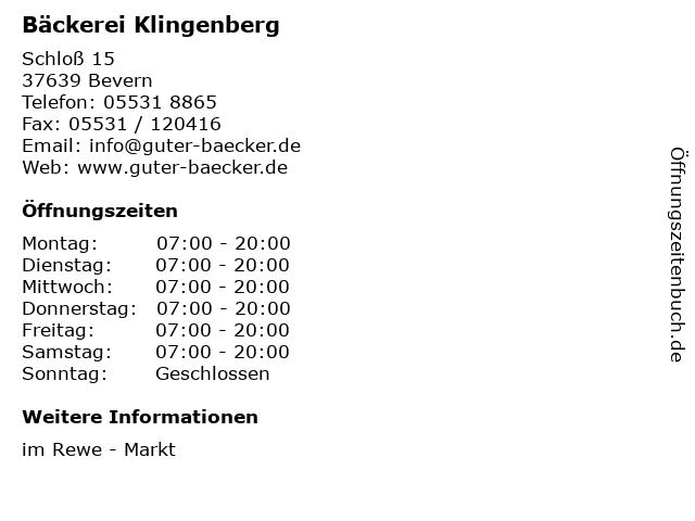 Bäckerei Klingenberg in Bevern: Adresse und Öffnungszeiten