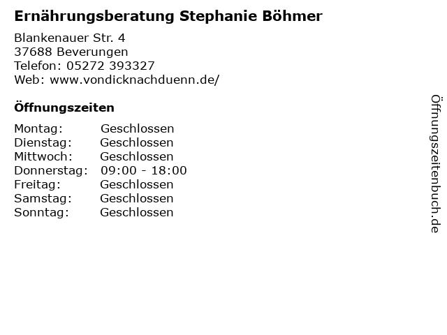 Ernährungsberatung Stephanie Böhmer in Beverungen: Adresse und Öffnungszeiten