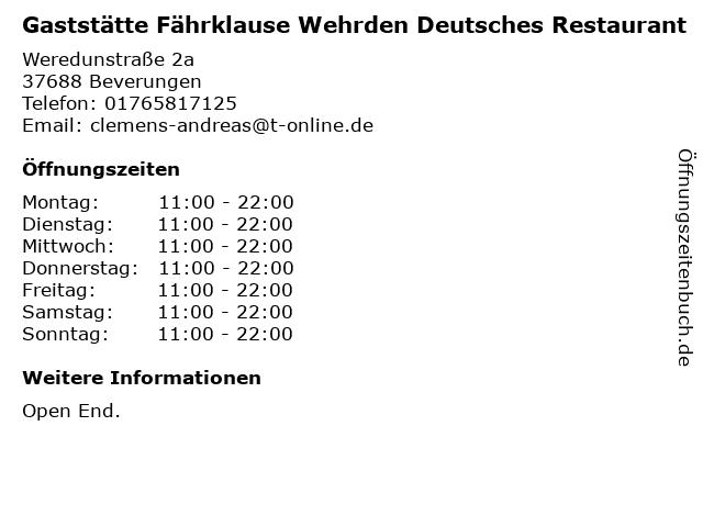 Gaststätte Fährklause Wehrden Deutsches Restaurant in Beverungen: Adresse und Öffnungszeiten