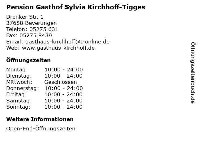 Pension Gasthof Sylvia Kirchhoff-Tigges in Beverungen: Adresse und Öffnungszeiten