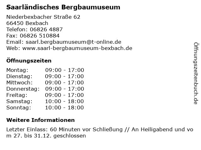 Saarländisches Bergbaumuseum in Bexbach: Adresse und Öffnungszeiten