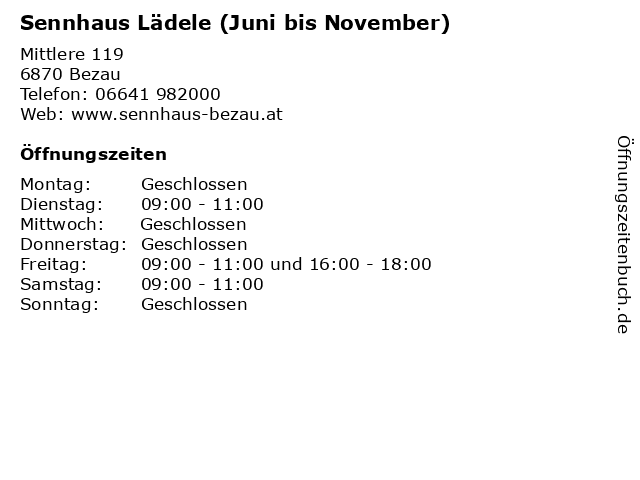 Sennhaus Lädele (Juni bis November) in Bezau: Adresse und Öffnungszeiten