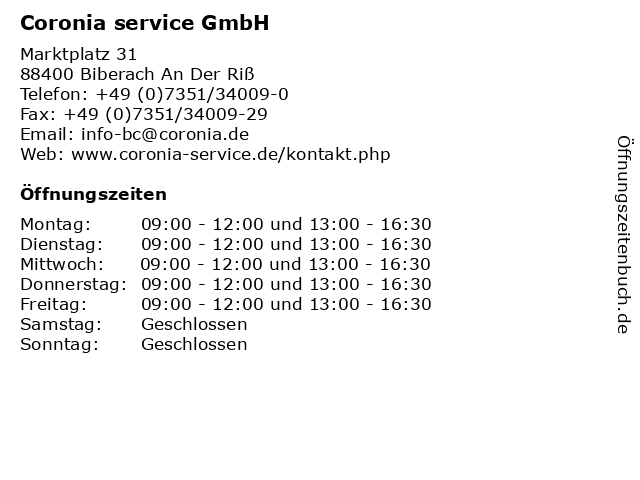 Coronia service GmbH in Biberach An Der Riß: Adresse und Öffnungszeiten