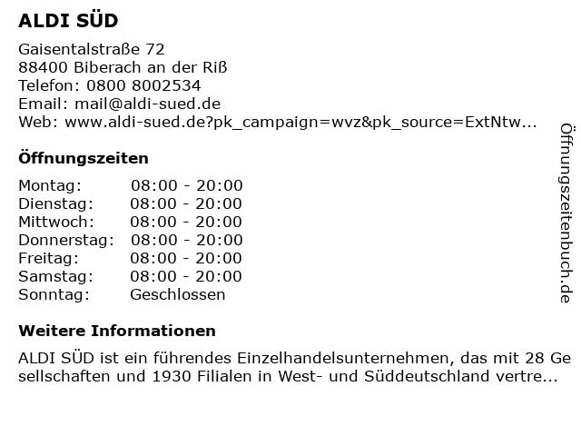 ALDI SÜD in Biberach an der Riß: Adresse und Öffnungszeiten