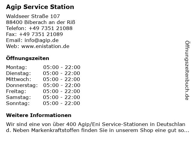 Agip Service Station in Biberach an der Riß: Adresse und Öffnungszeiten