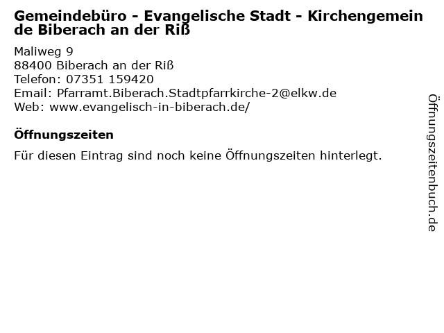 Gemeindebüro - Evangelische Stadt - Kirchengemeinde Biberach an der Riß in Biberach an der Riß: Adresse und Öffnungszeiten