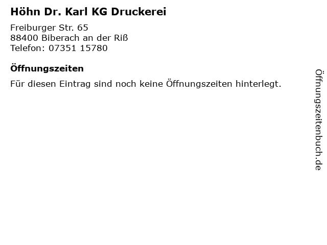 Höhn Dr. Karl KG Druckerei in Biberach an der Riß: Adresse und Öffnungszeiten