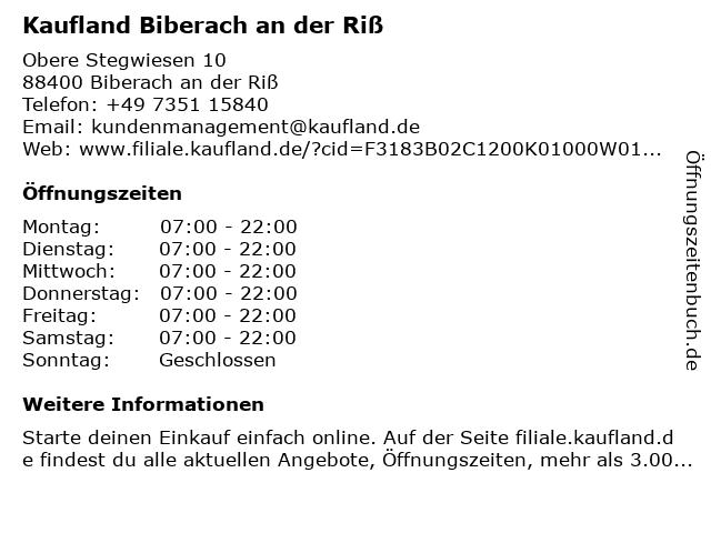 Kaufland Biberach an der Riß in Biberach an der Riß: Adresse und Öffnungszeiten