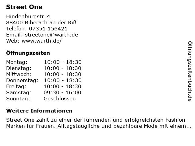 Street One Store in Biberach: Adresse und Öffnungszeiten