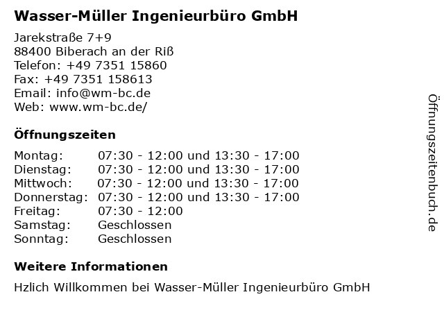 Wasser-Müller Ingenieurbüro GmbH in Biberach an der Riß: Adresse und Öffnungszeiten