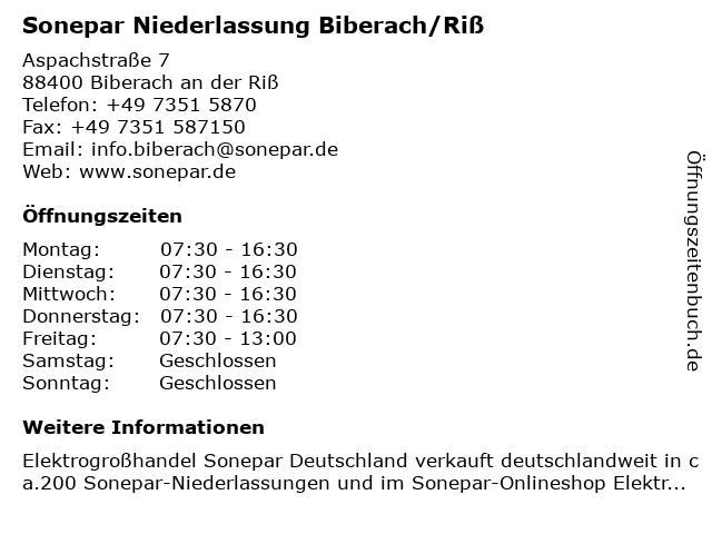 Sonepar Niederlassung Biberach/Riß in Biberach/Riß: Adresse und Öffnungszeiten