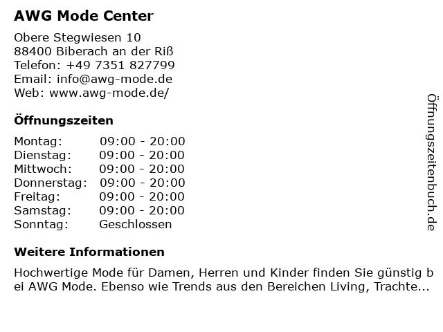 AWG Mode Center in Biberach: Adresse und Öffnungszeiten