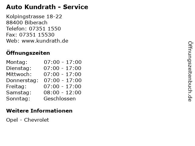 Auto Kundrath - Service in Biberach: Adresse und Öffnungszeiten