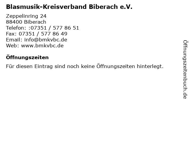Blasmusik-Kreisverband Biberach e.V. in Biberach: Adresse und Öffnungszeiten