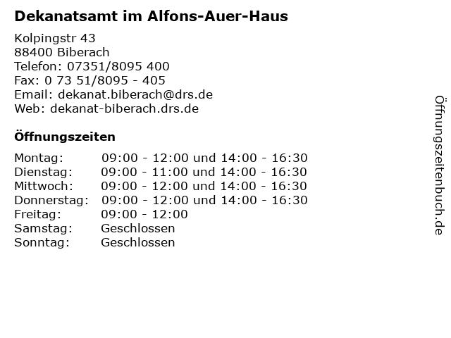 Dekanatsamt im Alfons-Auer-Haus in Biberach: Adresse und Öffnungszeiten