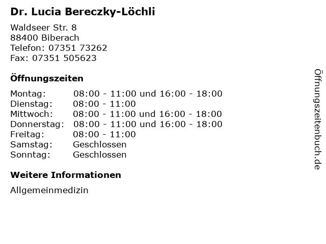 Dr. Lucia Bereczky-Löchli in Biberach: Adresse und Öffnungszeiten
