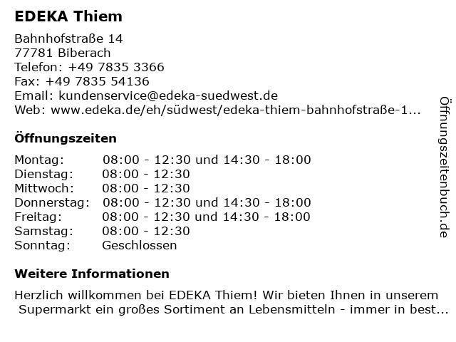 EDEKA Thiem in Biberach: Adresse und Öffnungszeiten