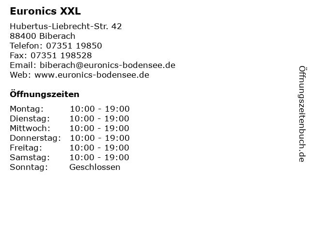 Euronics XXL in Biberach: Adresse und Öffnungszeiten