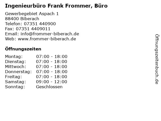 Ingenieurbüro Frank Frommer, Büro in Biberach: Adresse und Öffnungszeiten