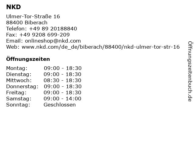 NKD Deutschland GmbH in Biberach: Adresse und Öffnungszeiten