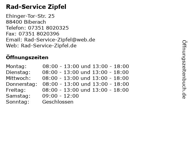 Rad-Service Zipfel in Biberach: Adresse und Öffnungszeiten