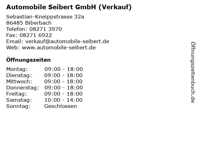 Automobile Seibert GmbH (Verkauf) in Biberbach: Adresse und Öffnungszeiten