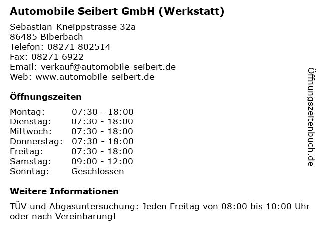 Automobile Seibert GmbH (Werkstatt) in Biberbach: Adresse und Öffnungszeiten