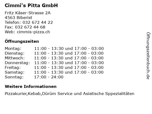 Cimmi's Pitta GmbH in Biberist: Adresse und Öffnungszeiten