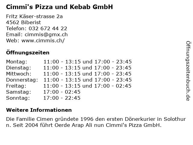 Cimmi's Pizza und Kebab GmbH in Biberist: Adresse und Öffnungszeiten
