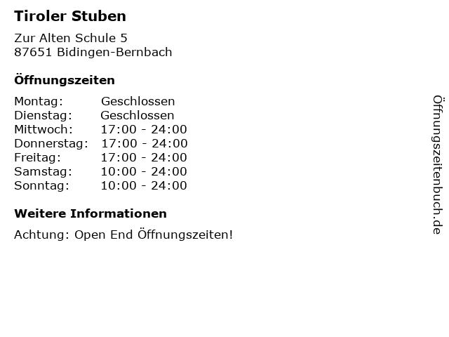 Tiroler Stuben in Bidingen-Bernbach: Adresse und Öffnungszeiten