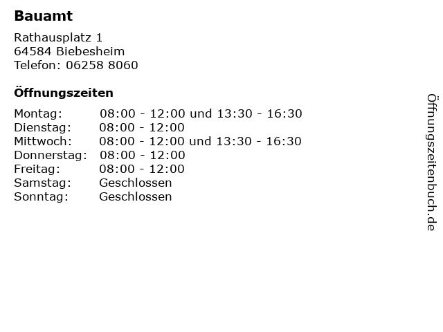 Bauamt in Biebesheim: Adresse und Öffnungszeiten