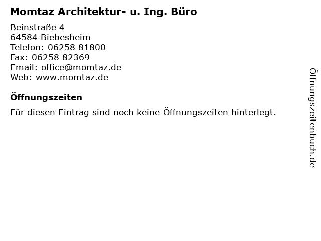 Momtaz Architektur- u. Ing. Büro in Biebesheim: Adresse und Öffnungszeiten