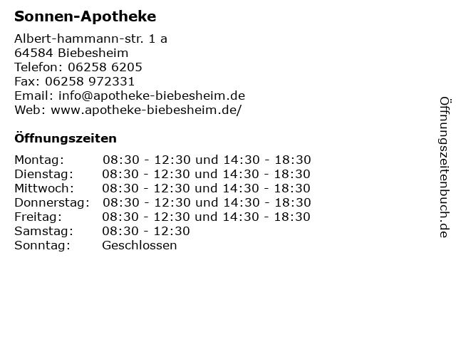 Sonnen-Apotheke in Biebesheim: Adresse und Öffnungszeiten