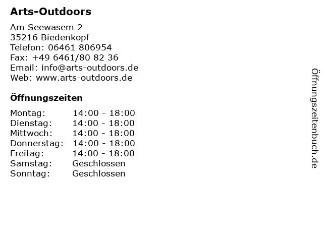 Arts-Outdoors Fachgeschäft und Online Shop in Biedenkopf: Adresse und Öffnungszeiten