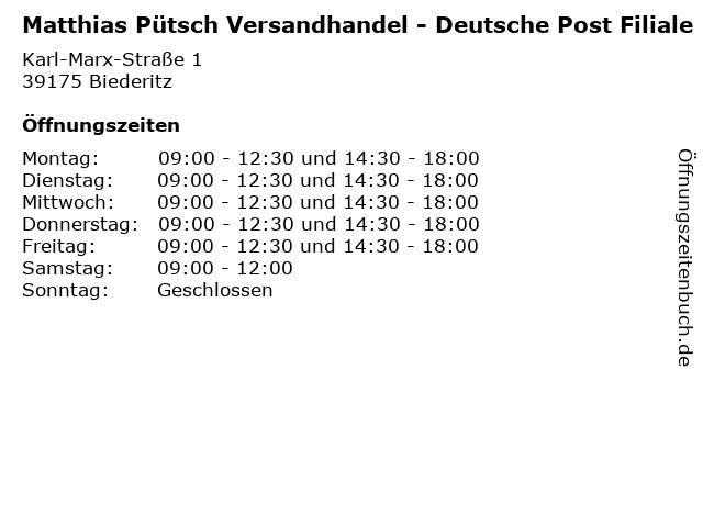 Matthias Pütsch Versandhandel - Deutsche Post Filiale in Biederitz: Adresse und Öffnungszeiten
