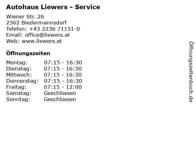 Autohaus Liewers Handel und Service GmbH - Teiledienst in Biedermannsdorf: Adresse und Öffnungszeiten