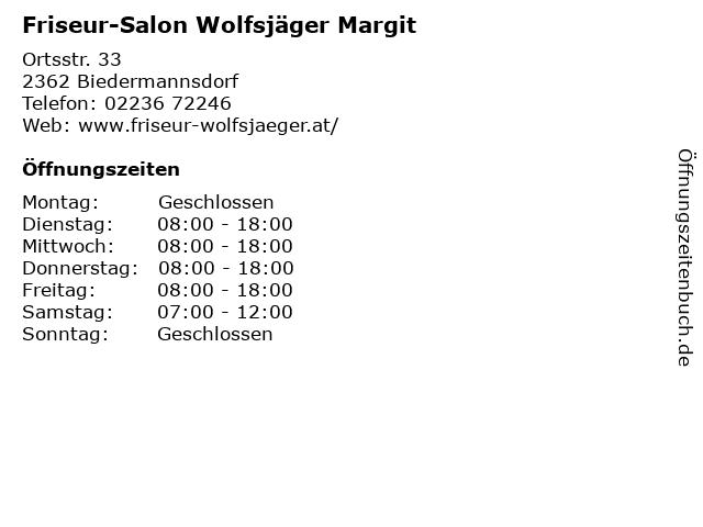 Friseur-Salon Wolfsjäger Margit in Biedermannsdorf: Adresse und Öffnungszeiten