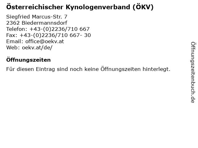 Österreichischer Kynologenverband (ÖKV) in Biedermannsdorf: Adresse und Öffnungszeiten
